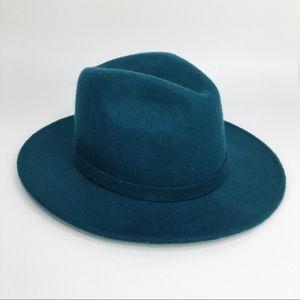 Zara Wool rancher wide brim fedora teal hat S